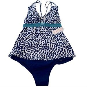 Cole of CA 2 pc Plunge Tankini Navy Print Size S